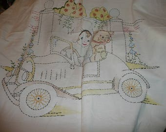 Hand Embroidered Girl Puppy Automobile White Tablecloth With Green Trim Cutter Item