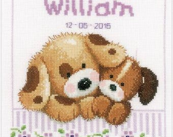 Complete cross stitch puppies, baby gift, baby cross stitch