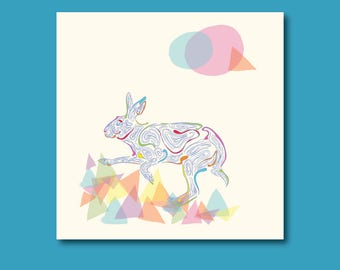 Arty Hare Birthday Card