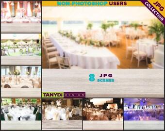 Empty Table Top WT-C3 | Wedding White Wood Table Styled Scene | 8 JPG Wedding Blur Background | Table Scene Creator