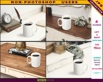 15oz White Coffee Mug | Styled JPG Scenes 15-C6 | Mug on Vintage Wood Table | Living room interior | Non-Photoshop