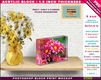 5x7x1.5 Acrylic Photo Block | Photoshop Block Print Mockup | Landscape Block on Wooden Shelf Flowers | Smart object Custom colors