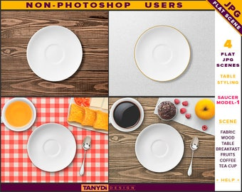 White Saucer Plate | Table Styled JPG Scenes S1-C1 | Non-Photoshop | Fabric Wood Table | Breakfast Fruits Cutlery | Coffee Tea Cup