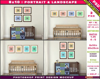 Nursery Interior Photoshop Print Mockup 810-N11 | Portrait & Landscape Set of 4 Wooden Frames | Wood Crib | Smart object Custom colors