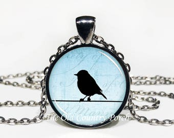 Bird on Wire-Glass Pendant Necklace/Graduation gift/mothers day/bridal gift/Easter gift/Gift for her/girlfriend gift/friend gift