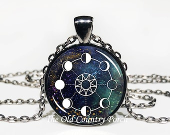 Moon Phase Chart-Glass Pendant Necklace/Mystic Moon/lunar necklace/pagan necklace/boho/bohemian jewelry/astronomy jewelry/gift for her