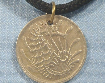 "Singapore 10 cent coin ""Seahorse"" pendant silk necklace 4 Orchid Note Cards"