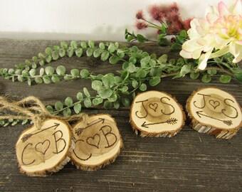 Personalized Wedding Wood Slices ~ Rustic Wedding Mason Jar Labels ~ Garden Wedding Centerpiece, Mason Jar Centerpiece ~ Wood Tag ~ Custom