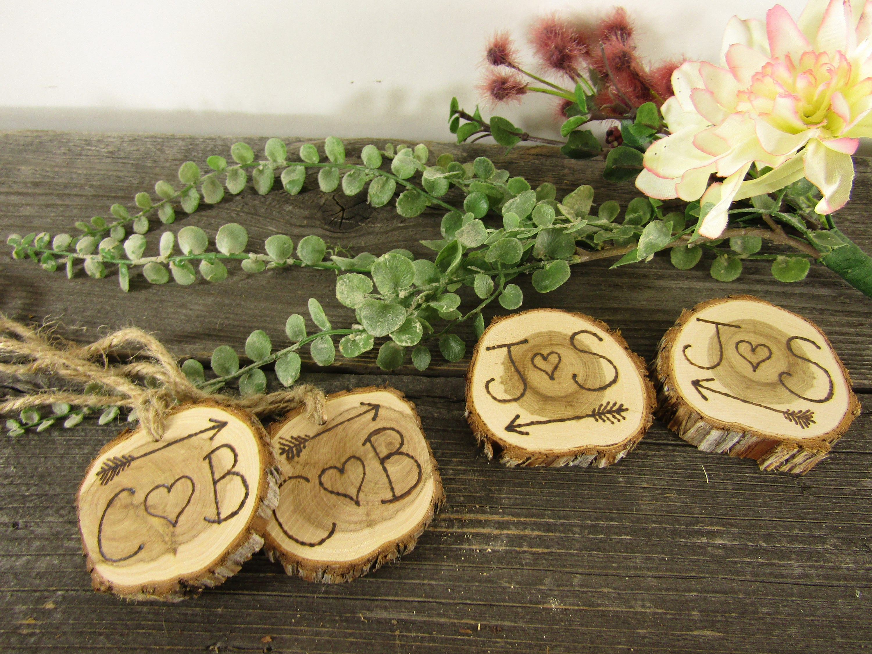 Personalized Wedding Wood Slices Rustic Mason Jar Labels Garden Centerpiece