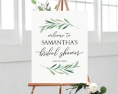 Greenery Welcome Sign - Bridal Shower Welcome Sign - Olive Leaf Green Branch - Printable Poster Download - Editable PDF in 4 sizes - #GD3833
