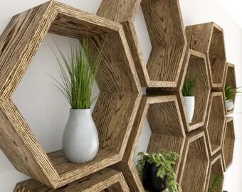 Hexagon Wall Shelf in Solid Oak |  Dark Oak Sets of Honeycomb Shelves | Hexagon Shelf