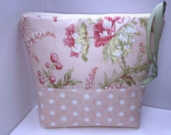 Shabby Wet Bag, Large Project Bag, Cosmetics Case, Waterproof Bag, Tall Zipper Pouch