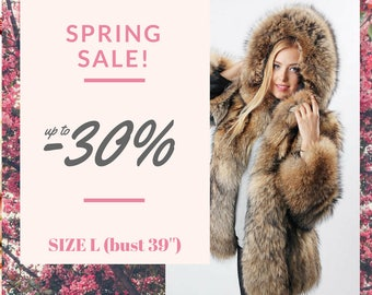 Real raccoon fur jacket / Real fur coat