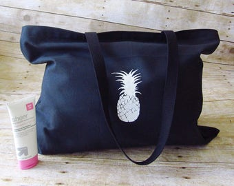 black beach bag | pineapple bag | large vacation bag | weekend bag | canvas bag | summer tote | oversized tote | canvas tote | shopping bag