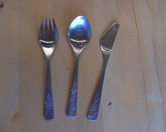 Vintage children's knife, fork, spoon set