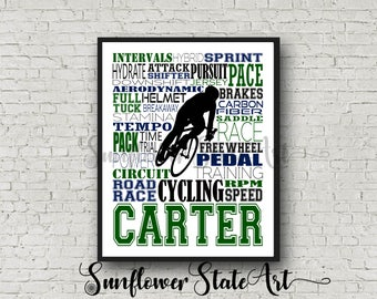 Personalized Cycling Poster Typography, Cycling Gift, Cyclist Gift, Custom Cycling, Gift for Cyclist, Gift for Cycler, Gift for Cycling