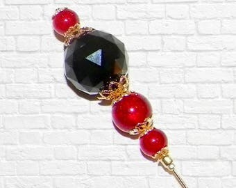 Hat Pin Vintage Red Black Victorian Style Gold Brown Crystal Edwardian Antique Inspired  6 Inch Steampunk Stick Lapel Pin With Protector