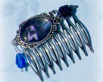 Hair Comb Fairy Gothic Cameo Blue Black Vintage Style Bridal Silver Victorian Rose Gyspy Boho  Steampunk Wedding Gothic Bohemian