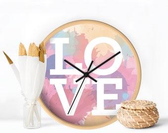 Wall Clock, Colorful Wall Clock, Love design, Decorative Wall Clock, Watercolor design, Home decor, Nursery decor, Modern Clock