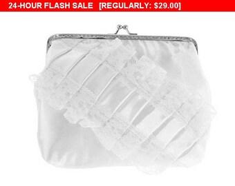 Sale 10% Bridal wedding white lace handbag, bridal clutch bag, womens purse bag wedding, formal vintage style bridesmaid clutch handbag G7