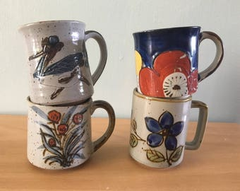 Darling Boho morning starter set 4 Japanese ceramic coffee mugs / tea cups in earth tones and flowers circa 1970s for your breakfast table!