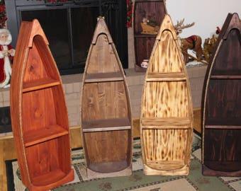 Canoe Boat Shelf 3 1/2' Tall Pine Wood Bookcase