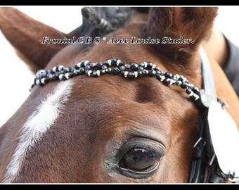 """Front horse or pony custom made clay beads and leather. Model """"Waves"""""""