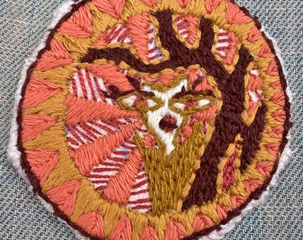 Figure in the Woods silk hand embroidered patch
