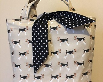 Wire haired fox terrier dog print handbag
