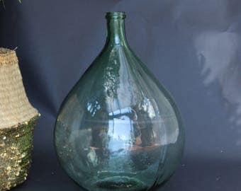 Vintage Green Glass, Large Carboy, Demijohn, Wine Bottle (1)