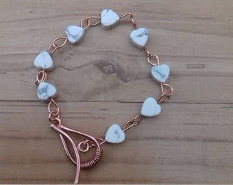 Rose gold plated heart rosary link bracelet