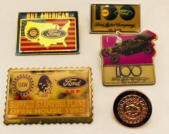 Ford Motor Company Memorabilia Collector Pins 20 Years of Service and More 24k GP