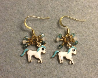Small turquoise and white enamel unicorn charm earrings adorned with tiny dangling turquoise and white Chinese crystal beads.