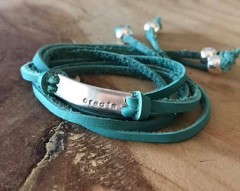 Custom wrap bracelet leather wrap bracelet word bracelet mantra bracelet silver bar bracelet wrap bracelet for women personalized bracelet