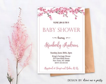 Cherry Blossom Baby Shower Invitation , Floral Baby Shower Invitation , Cherry Blossom Invitation , Pink Flower Baby Shower , Printable
