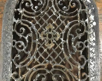Arched Antique Wall Grate, Architectural Salvage, lattice and scroll