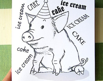Color It Yourself Birthday Card Cute Piggy PDF Printable Pig Out
