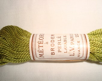 Vintage thread embroidery beaded green Meteor