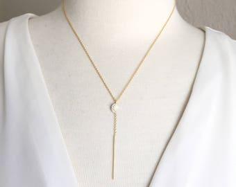 Half Moon Gold Necklace,Diamond Bar Drop Necklace,Lariat Necklace,Gold Lariat Necklace,Skinny Bar Drop Necklace,Y Necklace,Layering Necklace