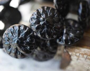 Black Dahlia Flower, Dahlia Flowers, Czech Beads, N1786
