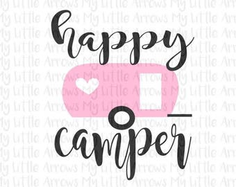 60% OFF SALE - Happy camper SVG, Dxf, Eps, png Files for Cutting Machines Cameo or Cricut - camping svg - retro camper svg  -womens shirt -