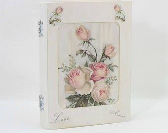 Wooden Keepsake Box, Wooden Book Box, Keepsake Box, Pink Roses, Shabby Chic, Wooden Memory Boxes, Wooden Trinket Box, Wooden Jewellery Box