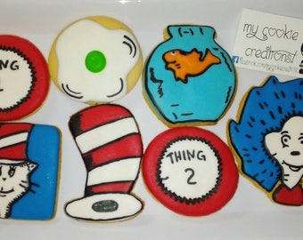 Cat In The Hat Sugar Decorated Cookies
