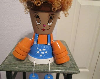 Clay Pot Girl with Orange Hair and Bib Overalls