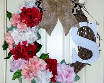 Monogram Grapevine wreath, Monogram Hydrangea wreath, Spring wreath rustic, Wedding wreath, personalized wreath, initial wreath, hydrangeas