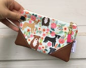 Floral Pitbull Mini Tassel Clutch