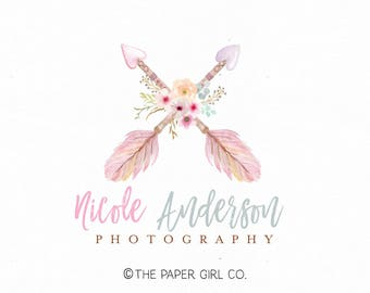 boho chic logo arrow logo premade logo design wedding logo design watercolor flower logo rustic logo design photography logo watermark