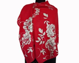 Red Floral Scarf, Beautiful Red Shawl, Winter Large Pashmina, Red Fashion Shawl, Floral Boho Shawl, Women Fall Scarf, Girlfriend Gift