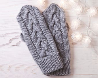 Gray Knit Mittens,  Winter Gloves, Christmas Gifts for Women, Hand Knit Warm Mittens, Gift for Wife, Women's Mittens, Gift for Sister