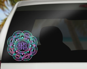Mandala Monogram Decal - Mandala Pattern Car Decal - Monogram Decal - Preppy Pattern Decal - Laptop Decal - Yeti Decal - Sticker - Boho -